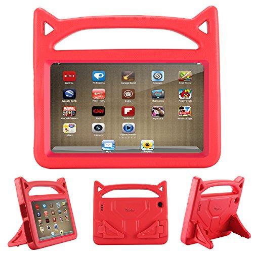 Riaour 2019-7 Tablet-Hülle (kompatibel mit der 7. Generation, 2017 Release/9. Generation, 2019) für Kinder, stoßfeste Schutzhülle mit Griff und Ständer für 7 Zoll Display Tablet S-rot