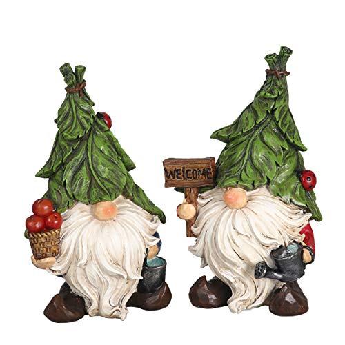 TERESA'S COLLECTIONS Lustige Gartenzwerg Wetterfest Figuren für Außen 2er Set 23.5cm Zwerg Gartenfiguren aus Kunstharz Gartenwichtel Gartendeko Figuren für Hof Balkon