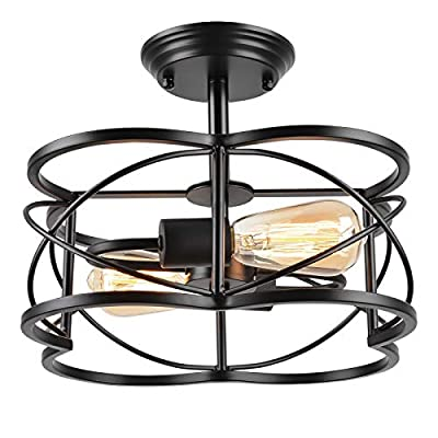 Eyassi Semi Flush Mount Ceiling Lights, Black 2-Light Farmhouse Close to Ceiling Lighting Fixtures Industrial Ceiling Lamp for Kitchen Island Living Room Bedroom Hallway Laundry Dinning Room