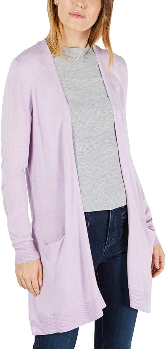 Maison Jules Womens Ribbed Trim Long Sleeve Cardigan Sweater Purple M