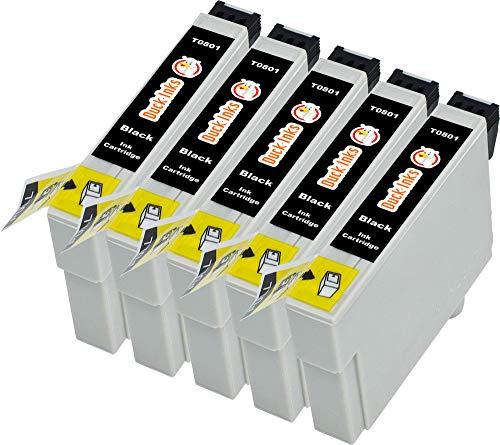 5 x Duck Inks Cartuchos de Tinta para Epson T0807 Stylus Photo P50 PX650 PX700W PX710W PX720WD PX730WD PX800FW PX820FWD PX830FWD R265 R285 R360 RX560 RX585
