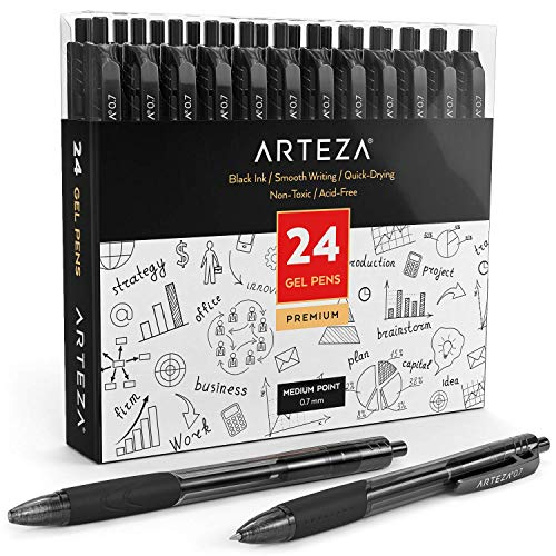 Arteza Gel Pens, Set of 24 Black Roller Ball Bullet Journal Pens, Quick-Drying Ink, Fine Point, Office Supplies for Writing, Taking Notes & Sketching