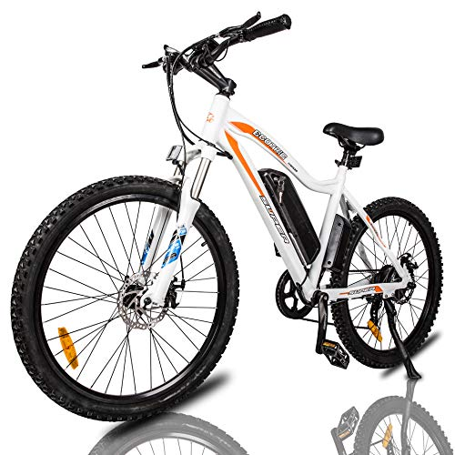 "ECOTRIC Mountain EBike Electric Bicycle Bike 26"" Alloy Frame with 500W Powerful Motor 36V/13Ah Lithium Suspension Fork (White)"