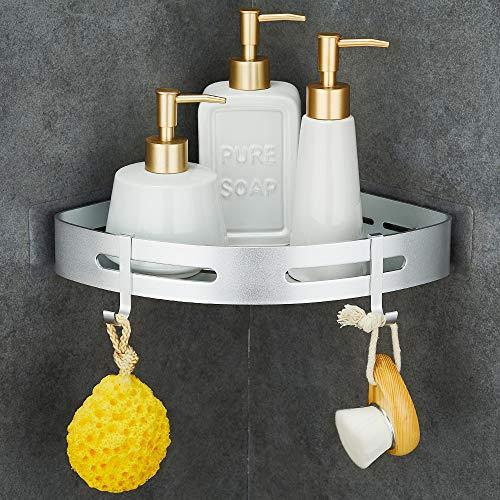 GERUIKE Bad Badregal Selbstklebender Aufkleber kein Bohren Duschablagen für Bad Rostfrei Wandmontage Duschkorb für Shampoo Saug Badezimmer Regal Silber Dreieck