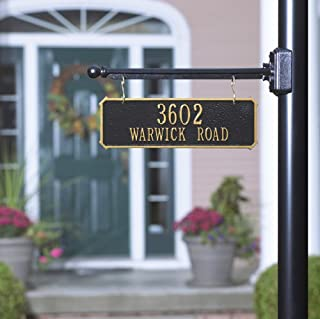 2-Sided Rectangle Aluminum Hanging Address Plaque and Bar (2 Lines) (Round Mount)