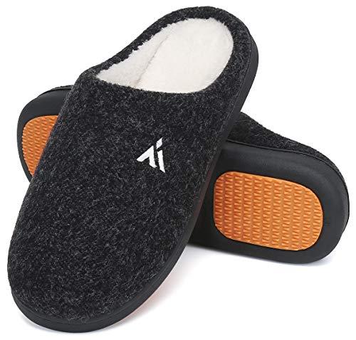 Mishansha Zapatillas de Casa Hombre Cálido Invierno Pantuflas Suave Antideslizante Espuma de Memoria Slippers Negro B, Gr.43 EU