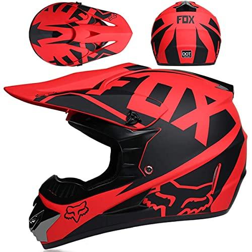 Casco De Motocross Casco De Motocross para Niños Casco De Motocross para Adultos con Gafas/Guantes/Máscara Casco De Motocicleta Fox Youth,Rojo,XL (58~59 cm)