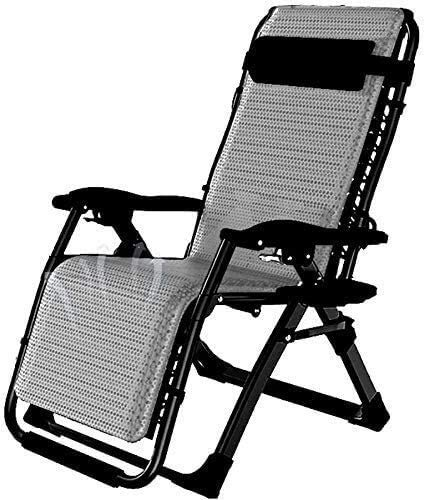 Tumbona Sillas reclinables para patio Tumbona plegable Tumbona portátil Tumbona de jardín para terraza al aire libre Silla de comedor de oficina con cojín extraíble Soporte 200 kg Sillas de gravedad