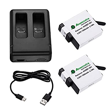 Powerextra Upgraded 2 Pack Battery with Dual Charger for GoPro HERO 6 GoPro HERO 5 Black (Compatible with Firmware v02.51, v02.00, v01.57, v01.55, 1.60 and Future Updates)