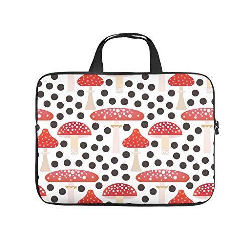 Red Mushroom Black Dots Full Print Laptop Bag Protective Case Durable Neoprene Laptop Case Bag Stylish Notebook Sleeve Case for Laptop Computer