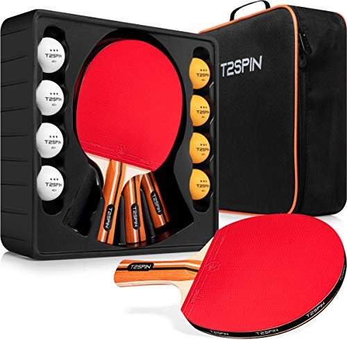 Ping Pong Paddles Set of 4 4 Player Combo  4 x Hi Performance Table Tennis Paddles  8 x Ping Pong Balls  Includes Table Tennis Racket Cover  Ping Pong Paddle Case  Ping Pong Set for All Players