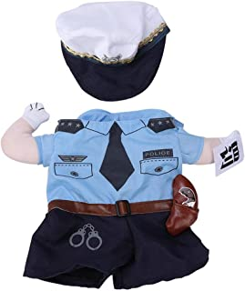 Pet Policeman Costumes,Polyester Cute Pet Halloween Clothes Penalty Police Upright Costume Dress Up for Cats Dogs (S)