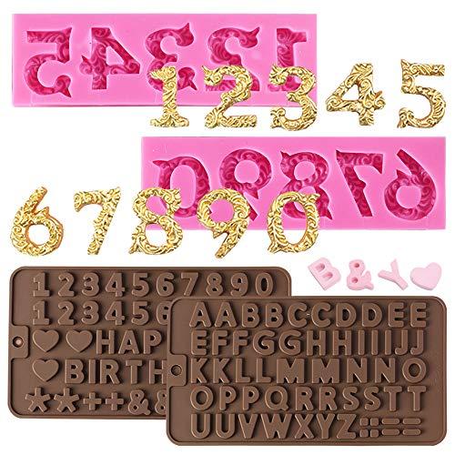 Molde de silicona de 4 piezas, letra AIFUDA, moldes de silicona con números y moldes de números con símbolos de decoración de tartas de feliz cumpleaños para galletas,dulces, gelatina,con 20 varillas