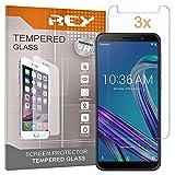 REY 3X Protector de Pantalla para ASUS ZENFONE MAX Pro M1 ZB601KL, Cristal Vidrio Templado Premium