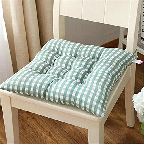 Noolpook, set di 3 cuscini da 40 x 40 cm, per sala da pranzo, cucina, giardino, sedia con laccetti, imbottitura per seduta spessa per interni ed esterni (verde chiaro)