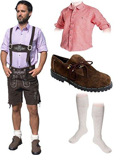 Herren Trachten Set B 5-teilig Trachten Lederhose * kurz * Dunkelbraun 46-60 Trachtenhemd Schuhe Socken Oktoberfest