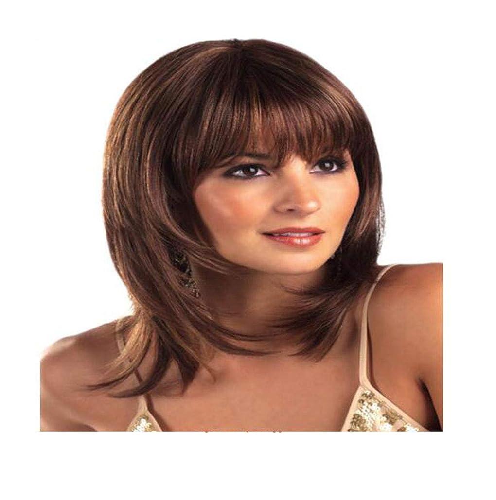 既婚保険受取人かつらストレートブラウン耐熱かつら用レディース日常パーティー高品質人工毛と前髪