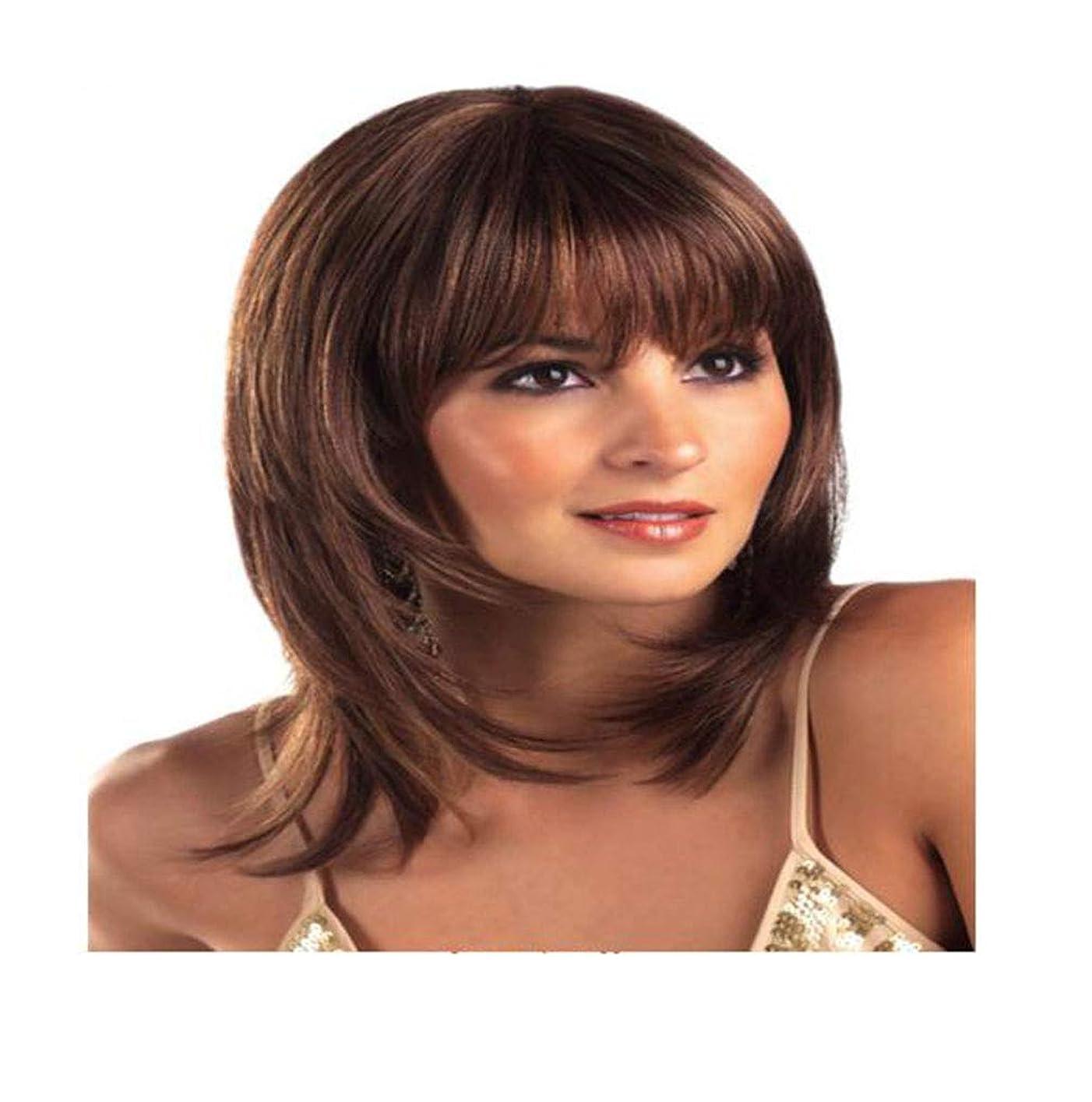 爆弾バイアスつぶやきかつらストレートブラウン耐熱かつら用レディース日常パーティー高品質人工毛と前髪
