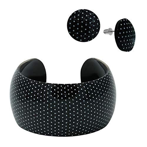 SoulCats® sommerliches Set Armreif und Ohrstecker aus Kunststoff in schwarz mit Punkten