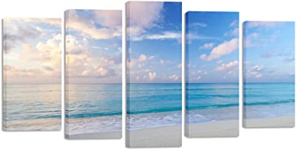 Kreative Arts Large 5 Pieces Multi-Panel Canvas Prints Photo Beach Prints on Canvas Seascape Pictures Framed Art Work Office Wall Décor Stretched Canvas Ready to Hang