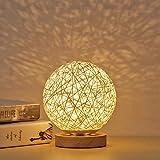 Lámpara de mesa de madera LED, SUNASQ Luz de noche de noche de bola esférica de ratán de madera...