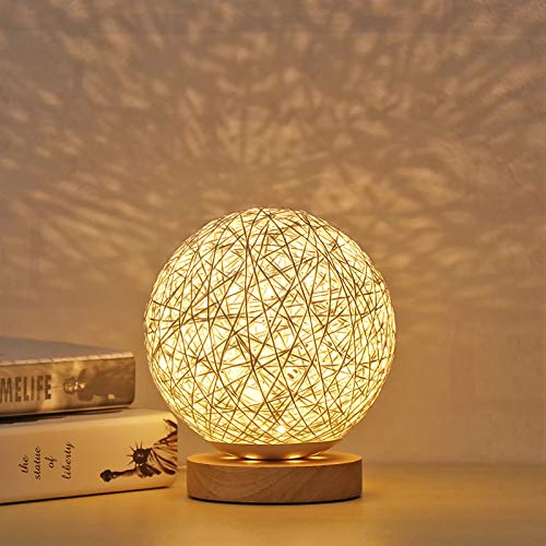 SUNASQ Lámpara de Mesa de Madera LED, Luz de Noche de Noche de Bola esférica de ratán de Madera Creativa con Pantalla de lámpara Tejida a Mano Lámpara de Noche Decorativa de Dormitorio.