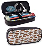 Stockage de porte-marqueurs de grande capacité American Football High Capacity PU Leather Pencil Case, Classic Design Rugby Balls in Cartoon Style Sports Competition Durable Double Zipper Caramel R