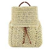 Mochila de paja tejida de ganchillo para mujer, mini mochila de viaje con cordón