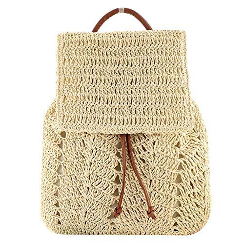 mochila mujer grande rafia ganchillo - mochila mujer casual verano - mochila mujer verano - bolso mochila mujer verano - bolso mochila mujer grande juvenil (beige))