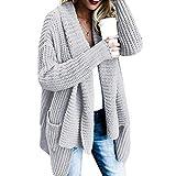 Cardigan Mujer Elegantes Moda Outerwear Otoño Invierno con Bolsillos Manga Larga Color Sólido Abiertas Jerseys Modernas Casual Jersey Largo Anchos Casual Estilo Moderno Jerseys Lana Cómodo