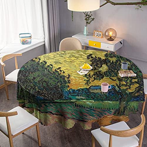 Manteles Redondos Mantel Retro Mantel Circular Mantel de algodón Cubierta de Mesa de Lino Adecuado para Fiestas de cumpleaños en Interiores y Exteriores