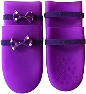 YBAA 4 PCs/Set Waterproof Pet Dog Shoes Rubber Dog Boots Socks Anti-Slip Washable Non Slip Outdoor Pet Shoes for Puppy Pet Supplies (Color : Purple, Size : L)