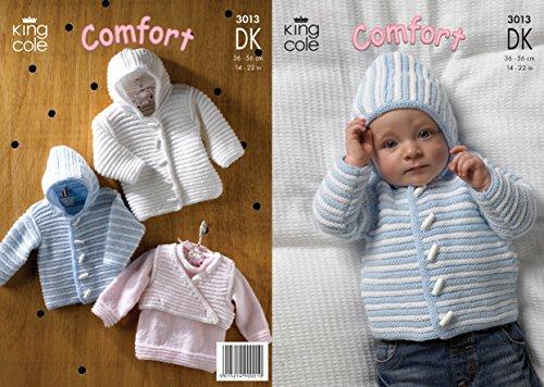 King Cole Double Knitting DK Pattern 3013 Baby Striped Sweater Hooded Jacket amp Body Warmer
