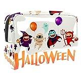 Bolsa de cosméticos para mujer, Halloween, calabaza, fantasma, araña, icono de viaje, artículos de tocador, bolsas grandes de PVC para maquillaje, práctico organizador con cremallera