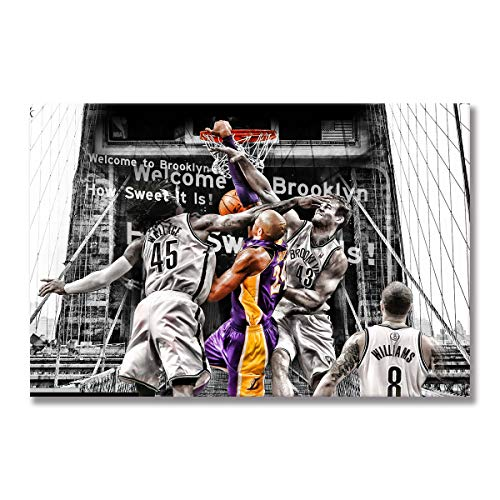 WALKKING WAYS The Los Angeles Lakers Kobe Bryant Posters and Prints Wall Pictures for Living Room Decoration Home Décor Canvas Painting Wall Art (Framed,50x70 cm) image