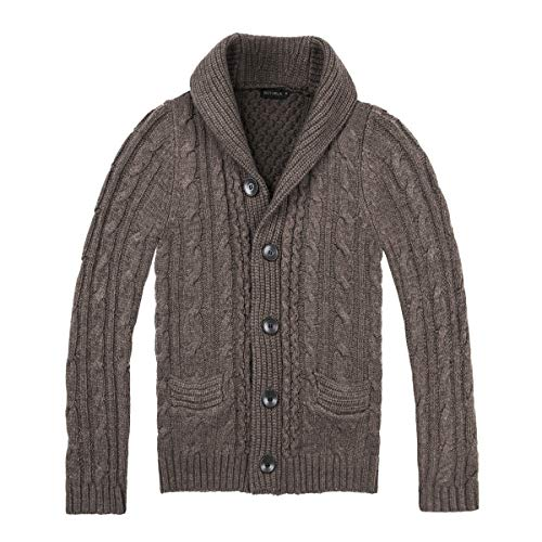 BOTVELA Men's Shawl Collar Cardigan Sweater Button Front Solid Knitwear (L, Coffee)