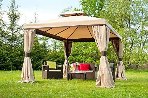 Garden Point Garten-Pavillon Valencia mit Moskitonetz | 300 x 400 cm | Rechteckig | Wasserabweisend | Ideal für Garten | Einfache Montage | Vorhänge im Set | Cremig