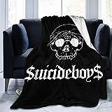 AORSTAR - Suave G59 Suicideboys – Manta de forro polar con logotipo blanco, apta para mantas de sofá para adultos y niños, mantas de cama de 80 pulgadas x 60 pulgadas