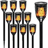 10PK Mini Solar Torch Light with Dancing Flickering Flame Lights Outdoor - Solar Tiki Torches Pathway Decorative Lights Waterproof Auto On/Off Dusk to Dawn for Garden, Yard, Backyard, Patio, Driveway