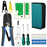 RJ45 Crimp Tool Kit Cat5 Cat5e Crimping Tool,RJ-11, 6P/RJ-12, 8P/RJ-45 crimp tool,Cut and Strip Tool with 20PCS Connectors+20PCS Covers,Network Cable Tester and Wire Stripper