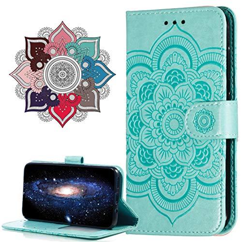 MRSTER Funda para Moto E5 Play Go, Estampado Mandala Libro de Cuero Billetera Carcasa, PU Leather Flip Folio Case Compatible con Motorola Moto E5 Play Go. LD Mandala Green