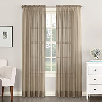 No 918 Emily Sheer Voile Rod Pocket Curtain Panel 59  x 84  Taupe Brown