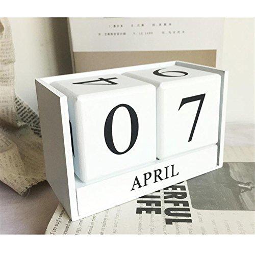 Obling Tischkalender Kalender Holz Manuelle Umrüstung Durable Chic Accessoire für Zuhause oder im Büro (Weiß)