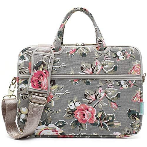 Canvasstof met rozenpatroon voor laptop, schoudertas, schoudertas voor 14-15,6 inch (35,6-15,6 inch), laptoptas, modieus