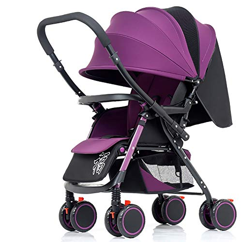 Poussettes Baby, Chariot Bébé Léger Pliable Suspension 4 Roues Manche Réversible Poignée Nouveau-Né