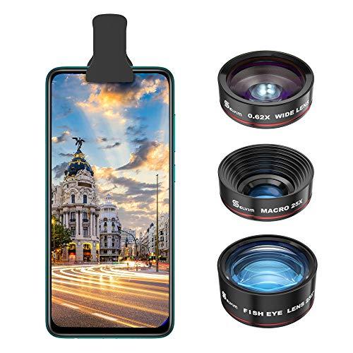 Selvim 3-in-1-Objektiv-Set für Smartphone, 235 ° Fischauge, 25 x Makro-Objektiv, 0,62 x Weitwinkelobjektiv für iPhone, Huawei, Samsung, Xiaomi, etc. Universal kompatibel