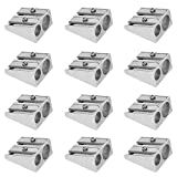 Pack of 12, Metal Pencil Sharpener with 2 Holes, SourceTon Manual Twin Metal Dual Sharpening Blade Double Holes Rectangular Pencil Sharpener