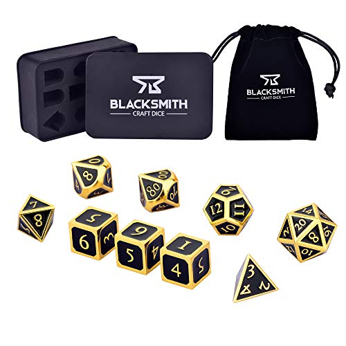 HEIMDALLR Metal DND Dice Set 9 PCS (2 Extra D6s) - Dungeons and Dragons Polyhedral Dice Set with D&D Dice Box & Bag for RPG Gaming - Includes D20 - Blacksmith Craft Dice (Obsidian)
