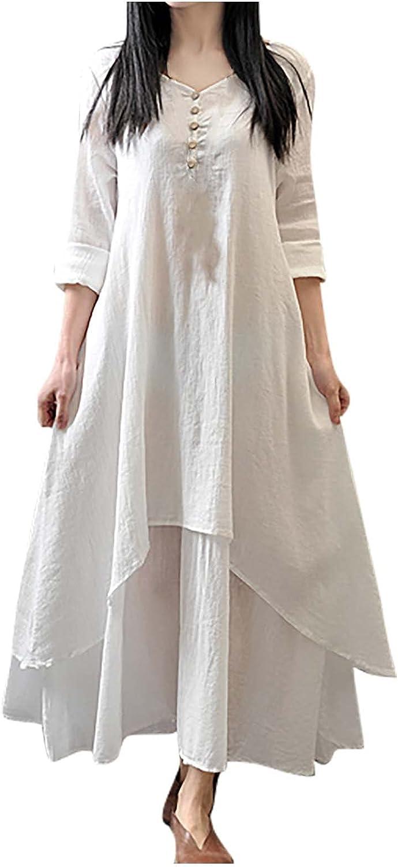 LISTHA Henley V Neck Maxi Dresses Women Long Sleeve Cotton Linen Baggy Dress