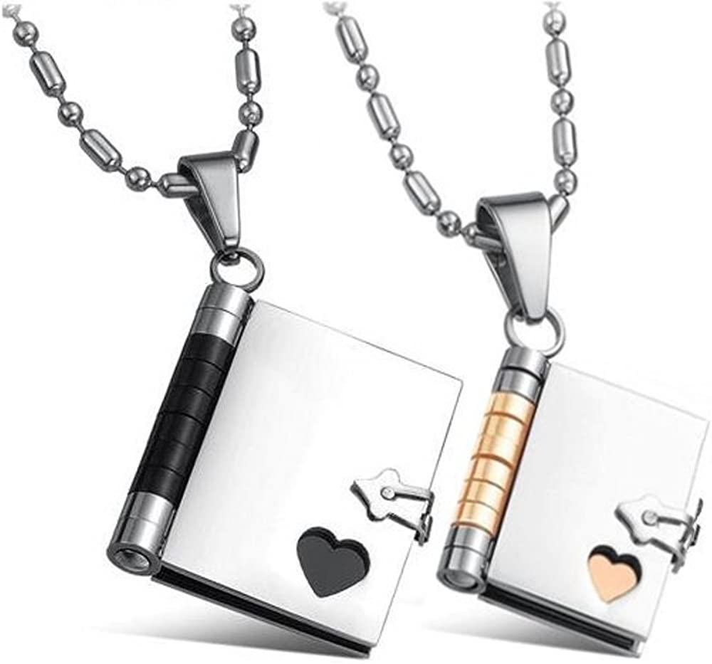 CoolRings His and Hers Matching Necklaces Love Story Book Pendants Stainless Steel Set (Writable Pages) Sharpie Not Included